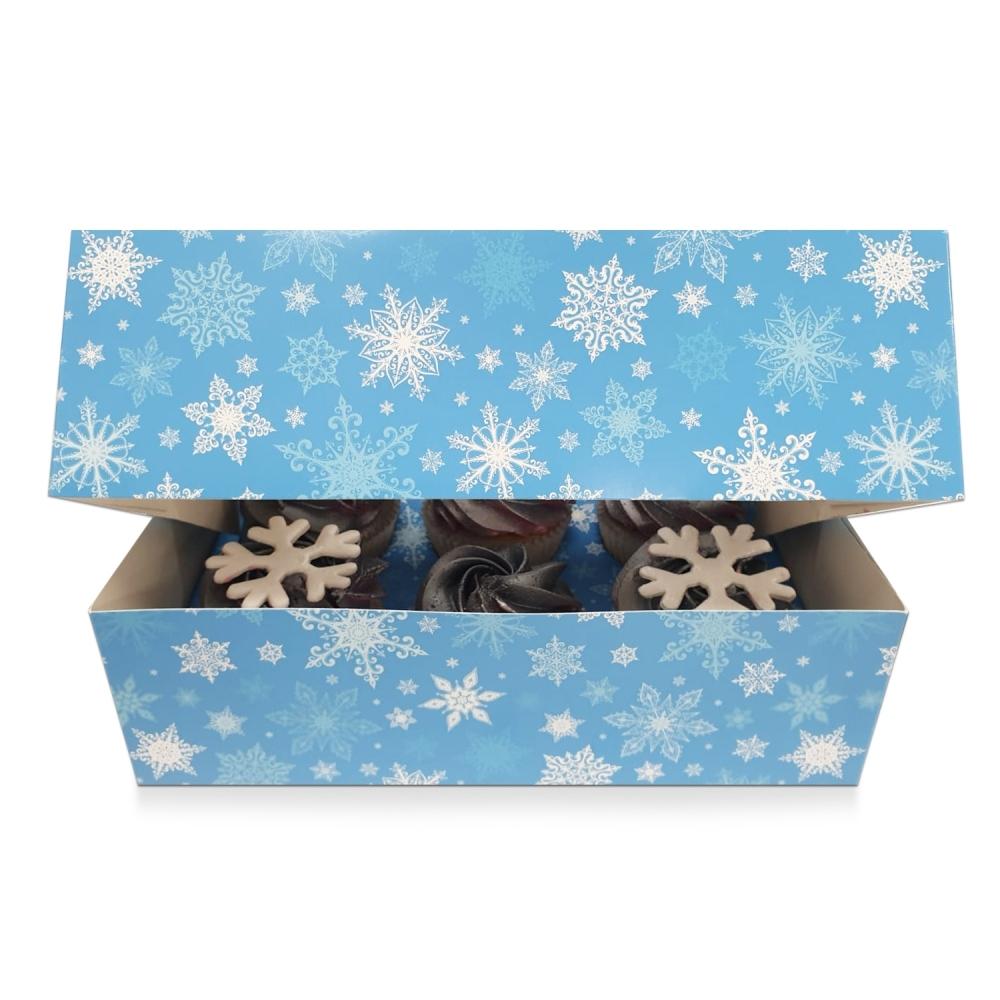 Boîte pour 6 cupcakes – Flocon de neige