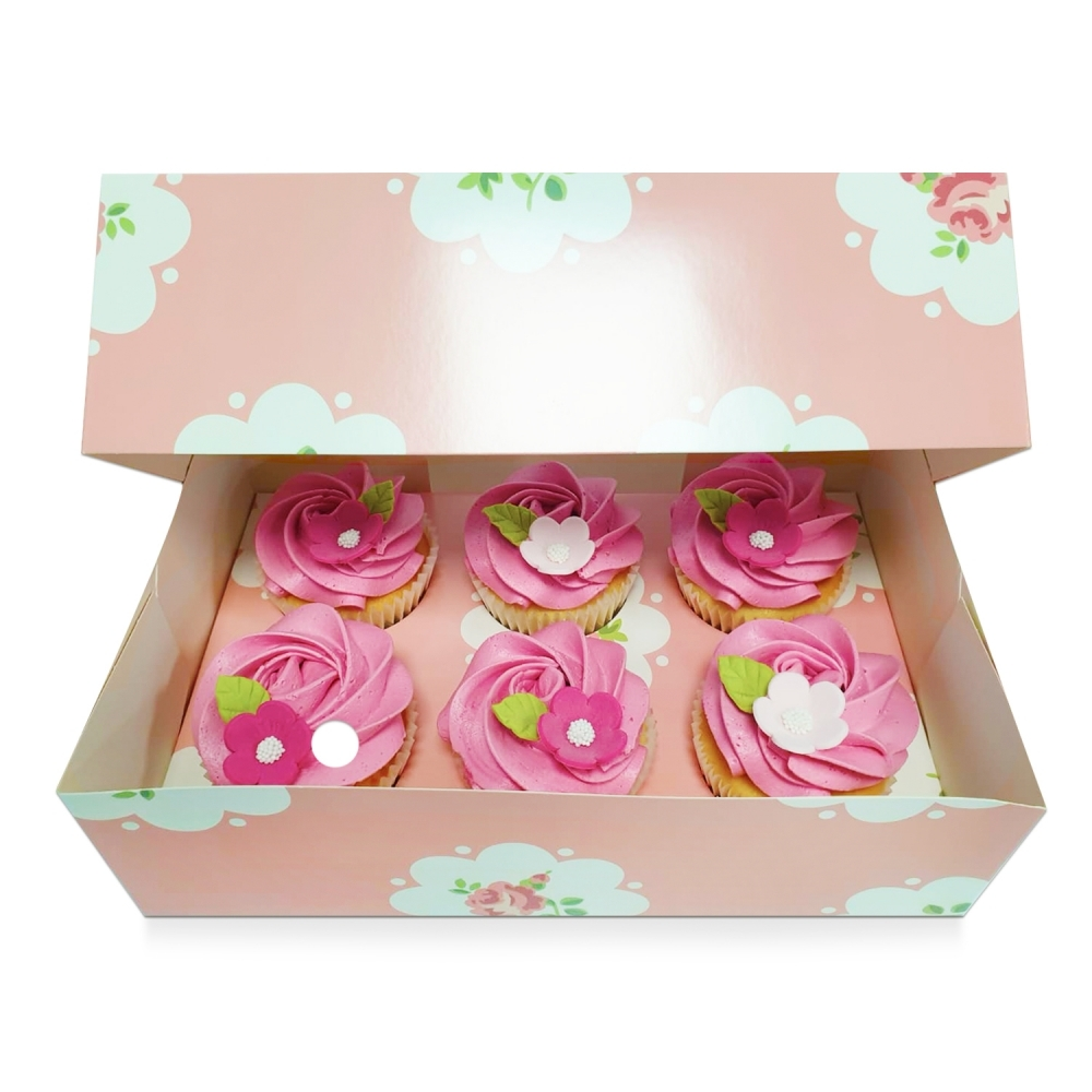 Boîte pour 6 cupcakes –Peche fleur