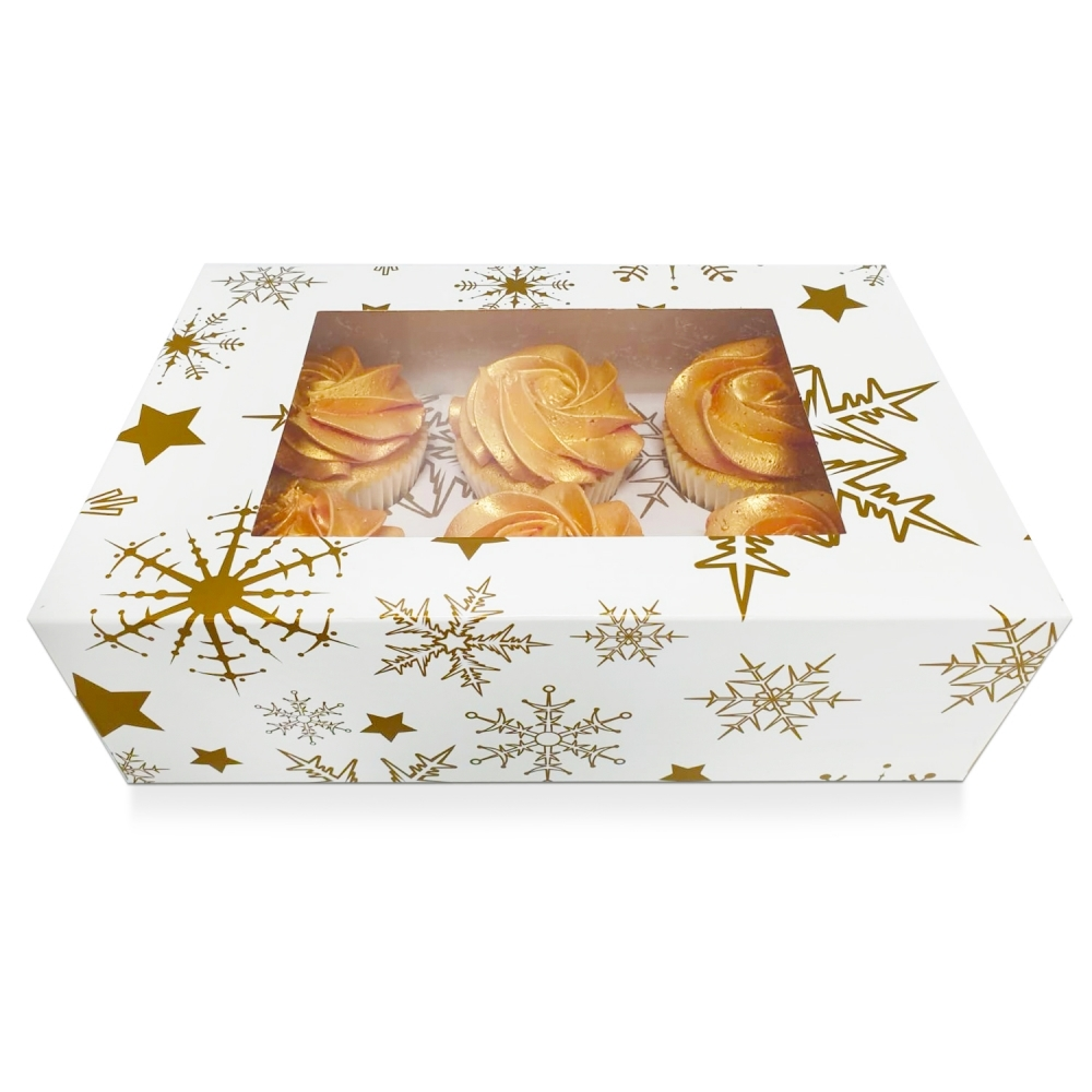 Boîte pour 6 cupcakes –ETOILE OR