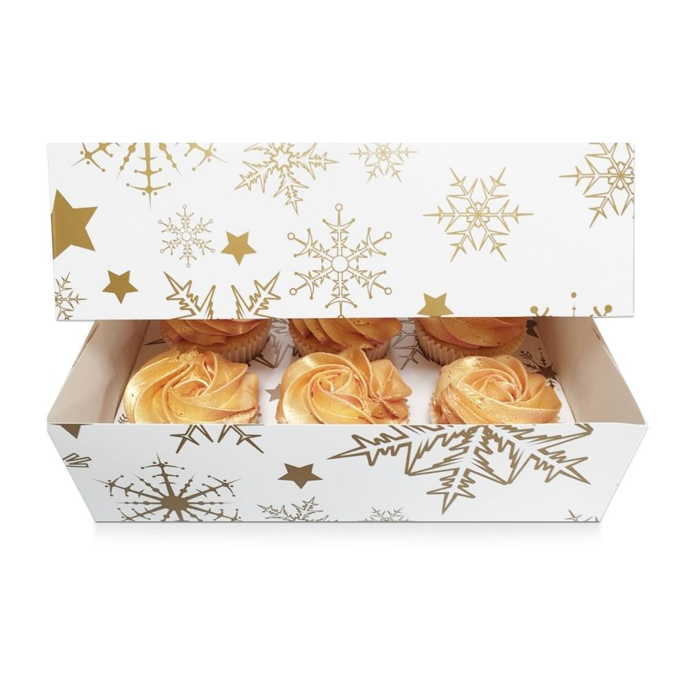 Boîte pour 6 cupcakes – Etoiles en Or