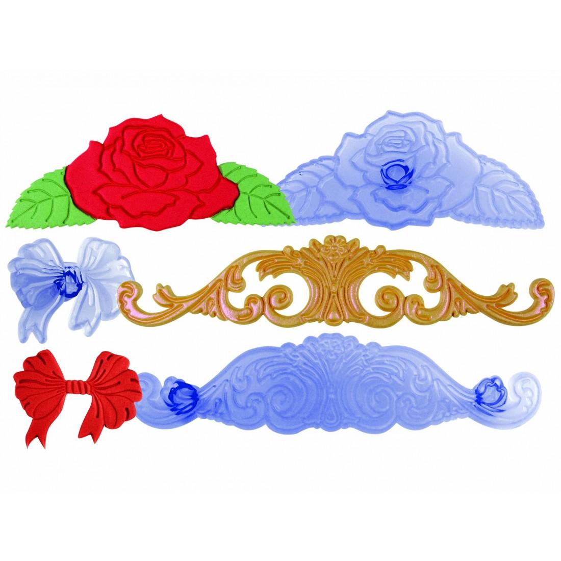 Elegant Range bow, rose & scrolls icing cutter set