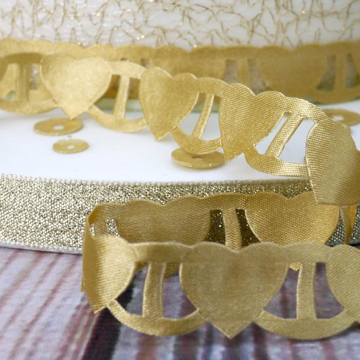 Ruban 1 M – Coeurs en or