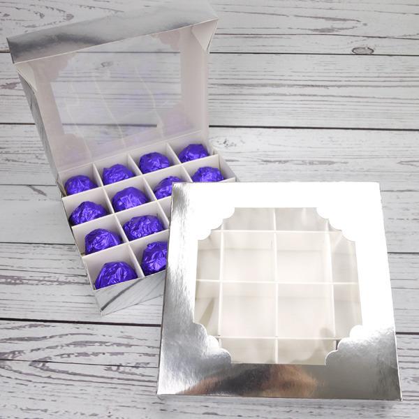 Boîte à chocolat avec fenêtre – Argent