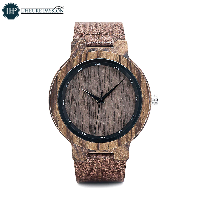 Men\'s Wooden Watch Grain Leather Bracelet