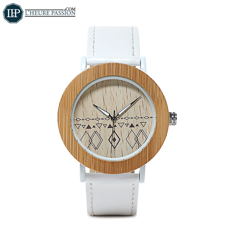 Wooden women\'s watch with white leather strap