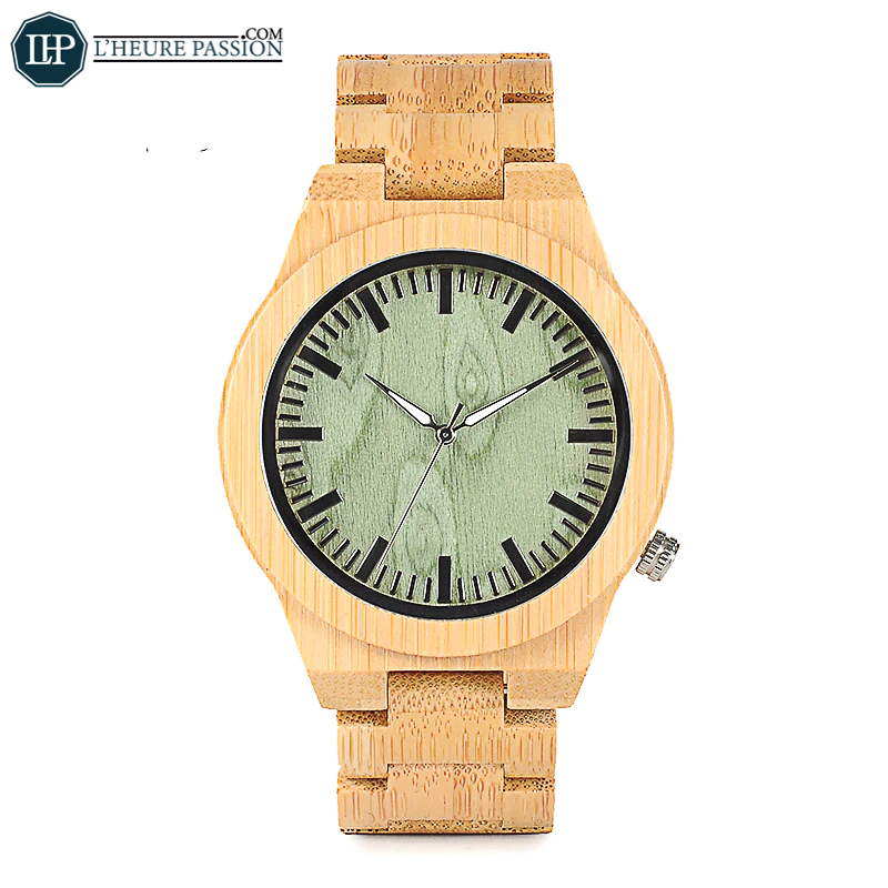 Wooden watch with green dial