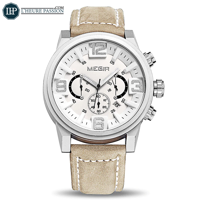 Casual fashion watch with large leather chronograph dial