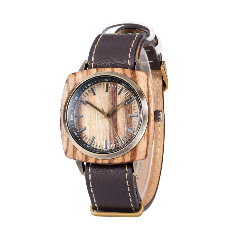 Square wooden watch