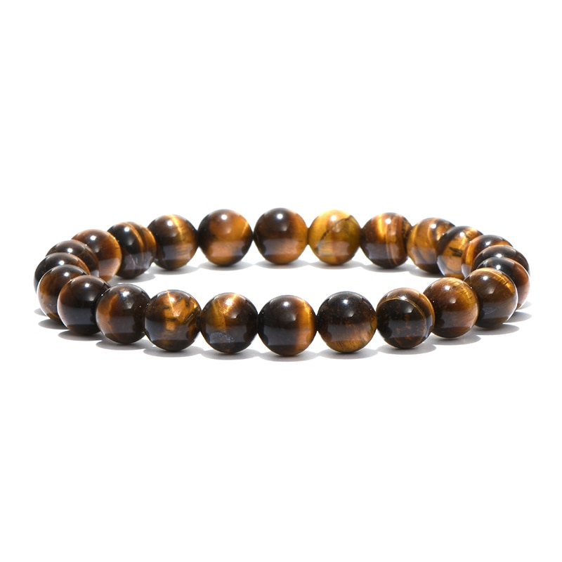 Minimalist natural stone beads Tiger\'s eye bracelet
