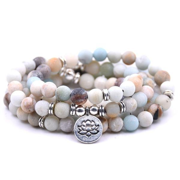 Mala Bracelet of 108 Natural Amazonite Beads