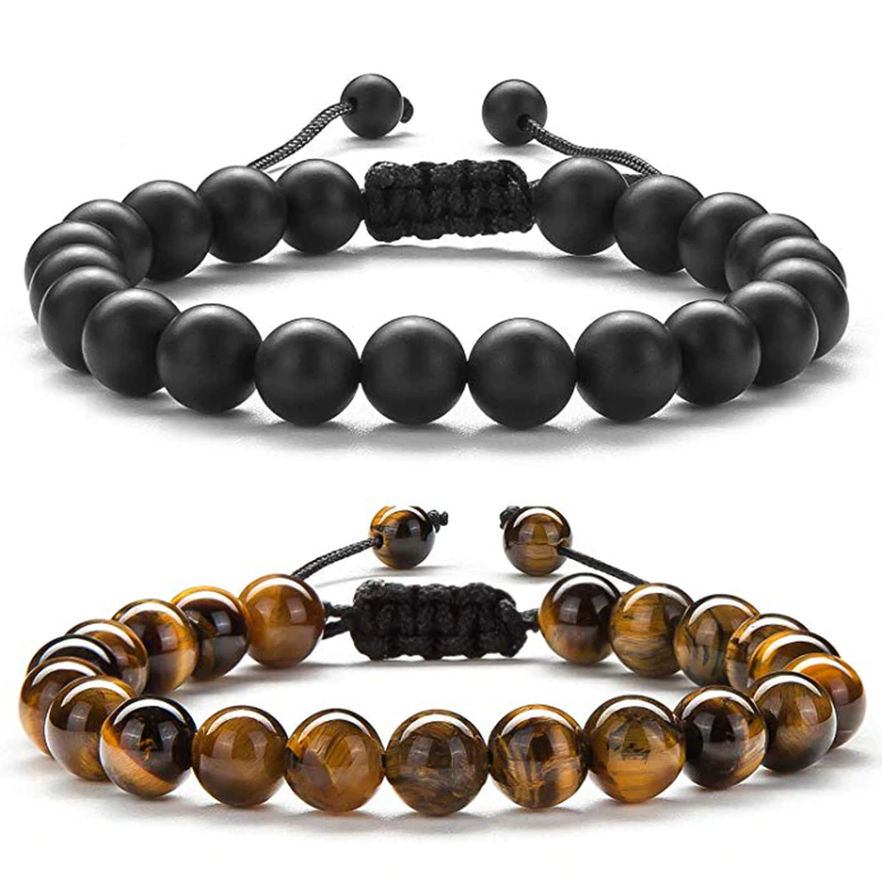 Set of two tiger eye and black agate bracelets