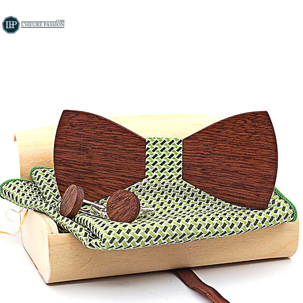 Wooden bow tie box with cufflinks and pouch