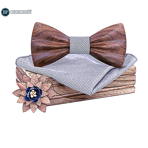 Wooden bow tie box + Wooden brooch man