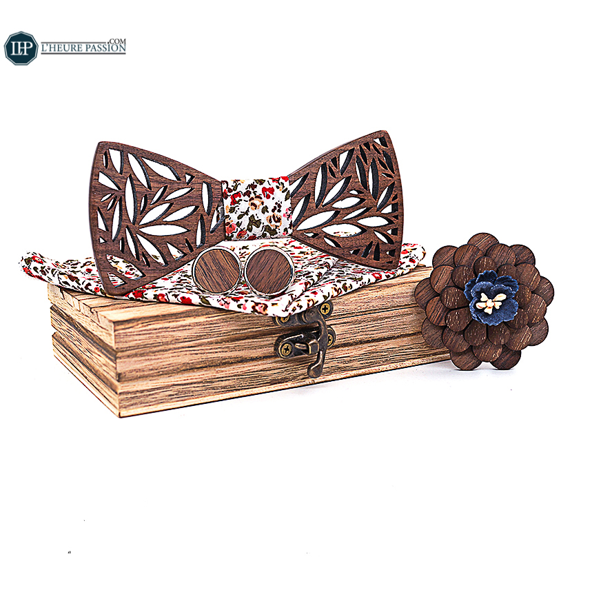 Wooden bow tie + wooden brooch + cufflinks and its handkerchief set