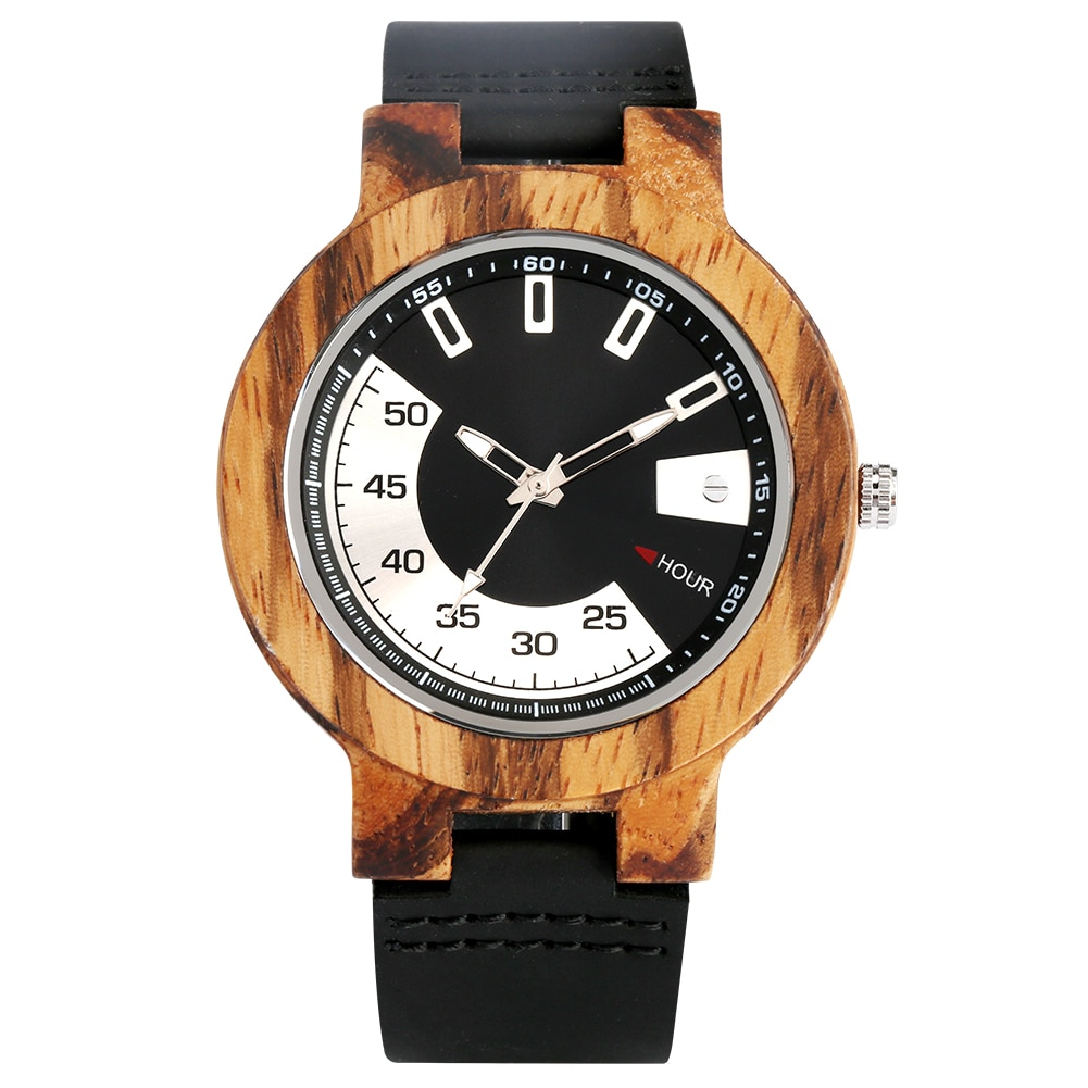 The unique wooden watch with leather strap