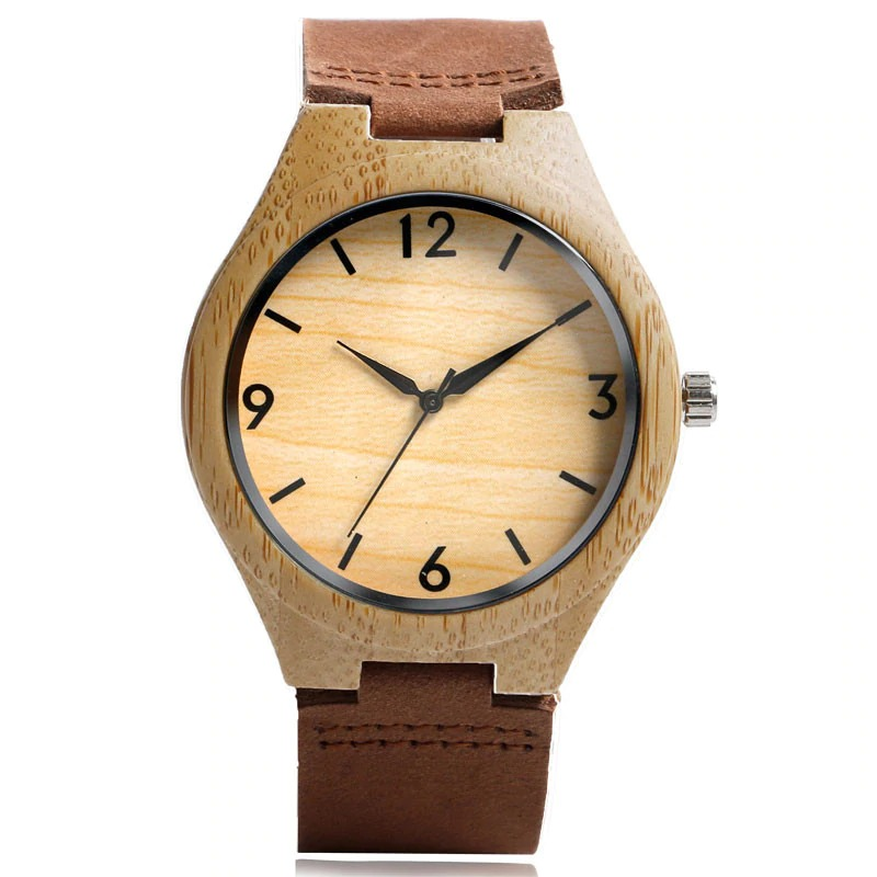 Wooden wristwatch with brown genuine leather bracelet