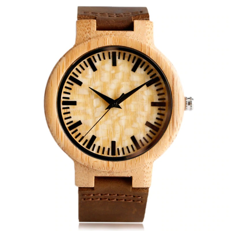 Wooden watch women man Vintage with Quartz