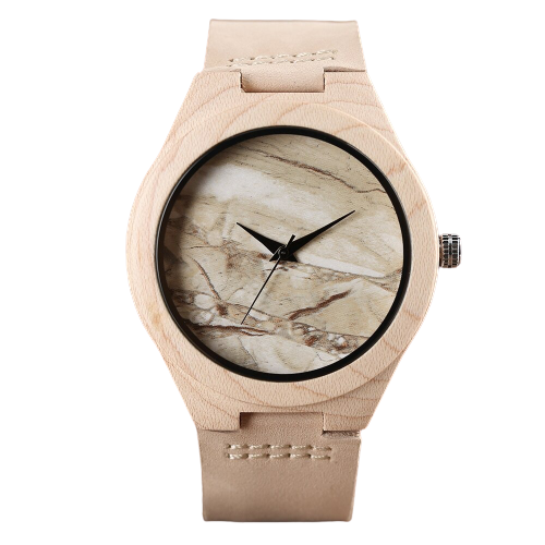 Creative Nature Wooden watch with bamboo marble effect dial