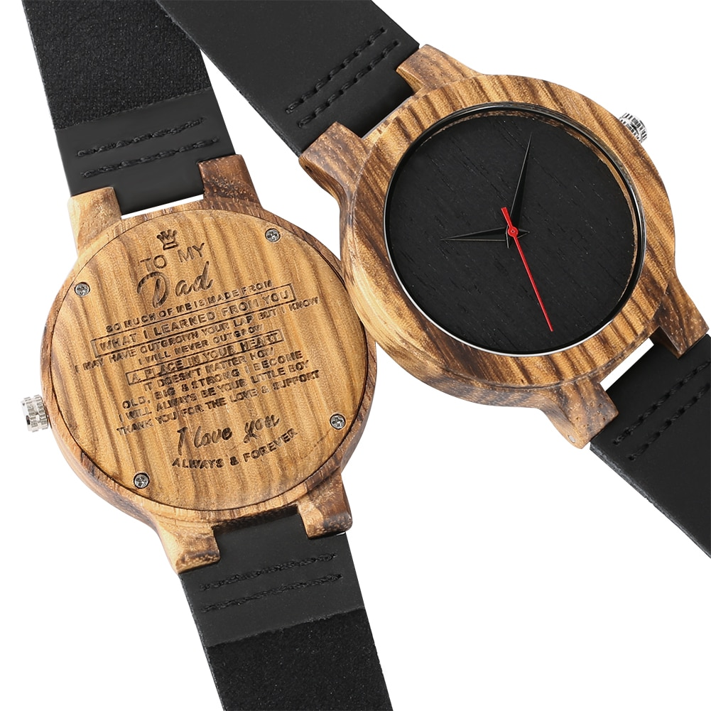 Wooden watch with black leather strap