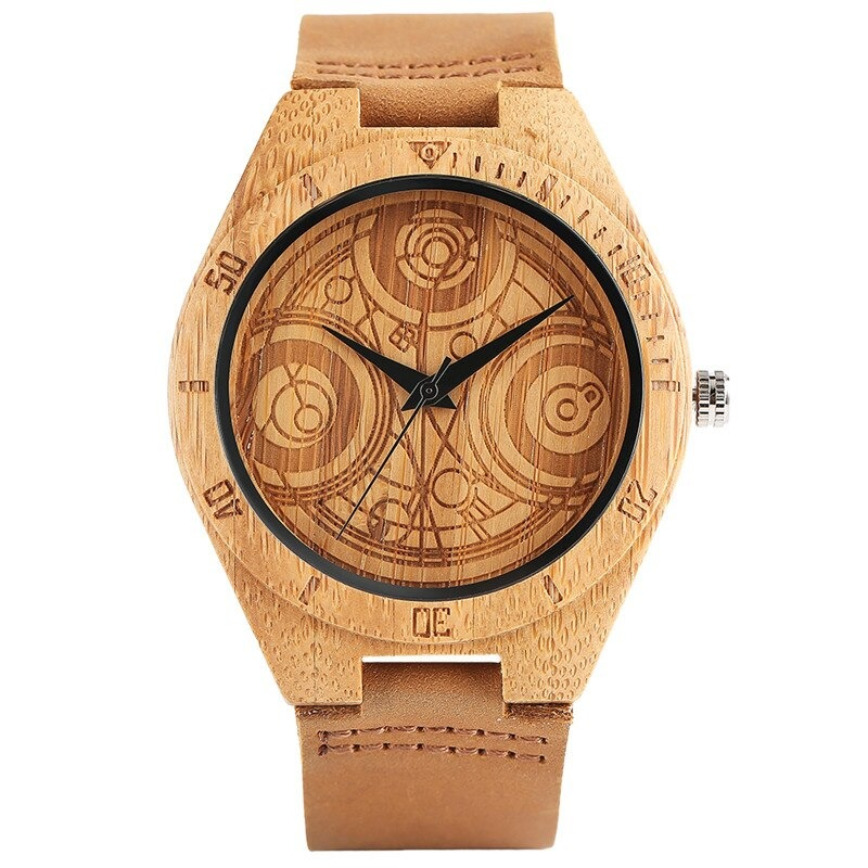 Elegant wooden watch with carved circle and genuine leather strap