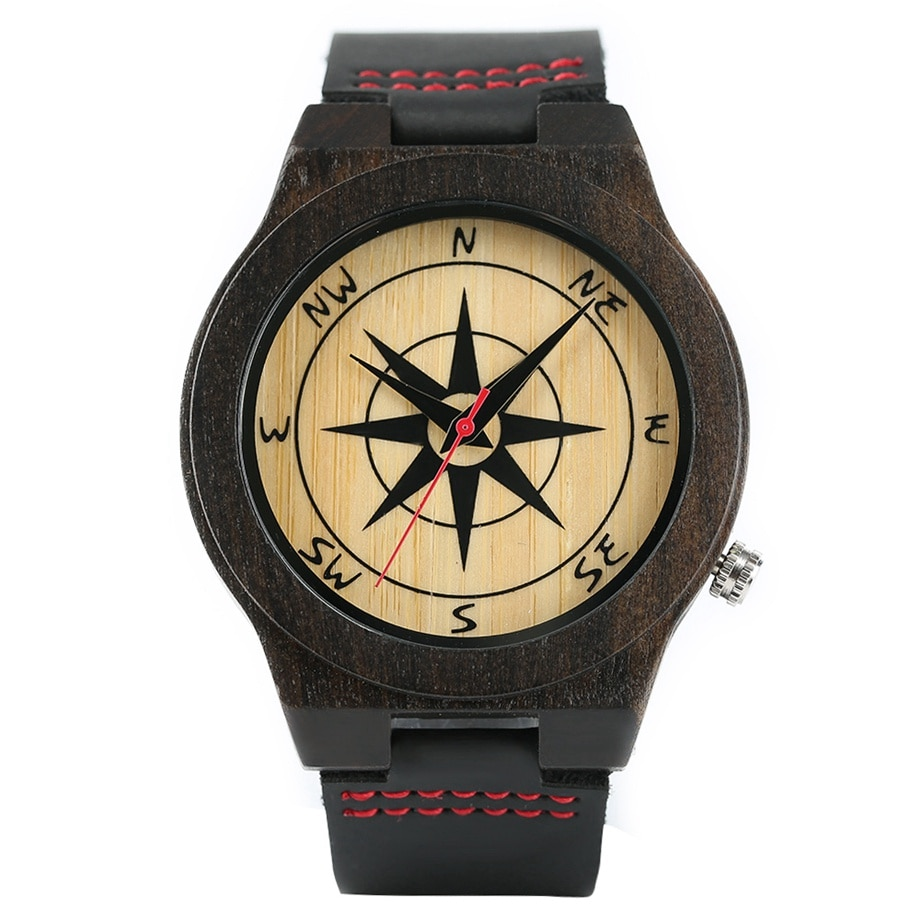 Creative wooden watch with compass in the dial