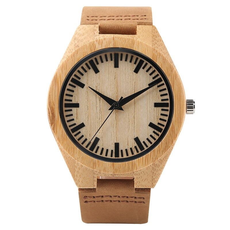Minimalist wooden men\'s and women\'s casual style watch