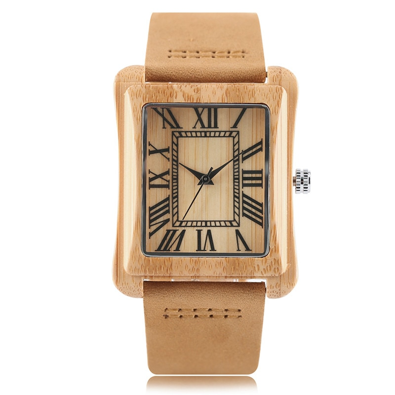 Rectangular wooden men\'s wristwatch with leather strap
