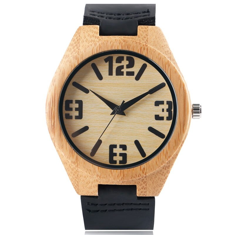 Wooden watch large number Nature wood