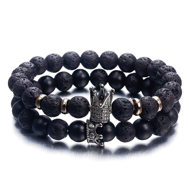Pave Lava Stone and Imperial Crown Bracelet