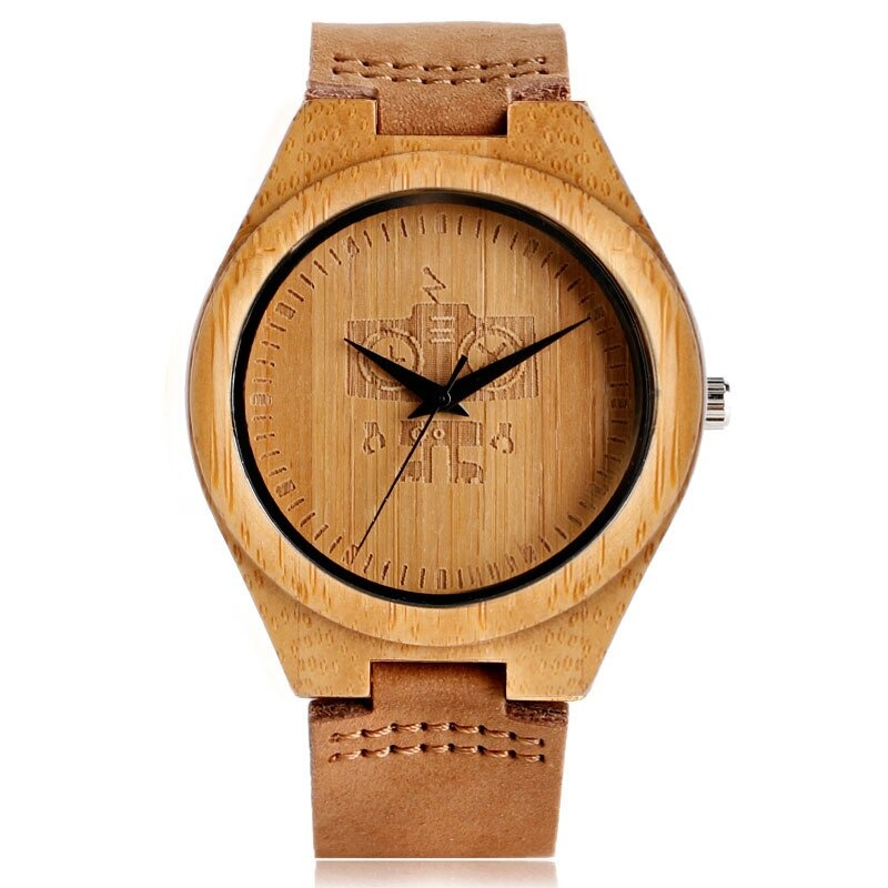 Personalized bamboo watch live robot