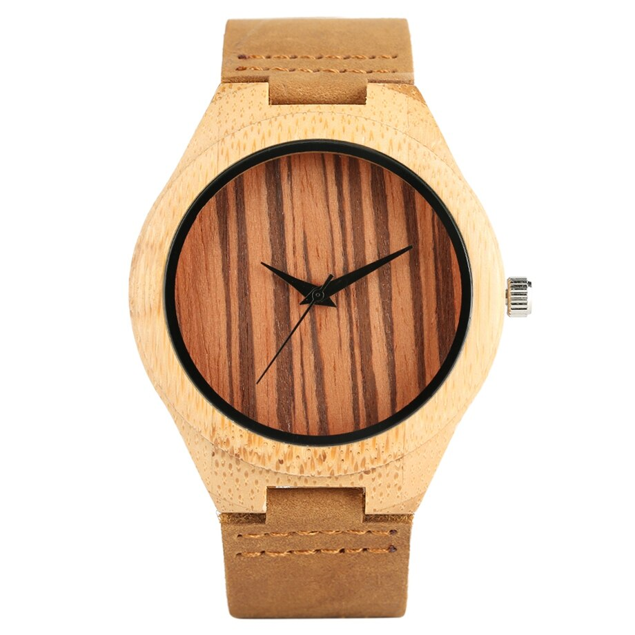 Casual and sober bamboo watch for women, men and students.