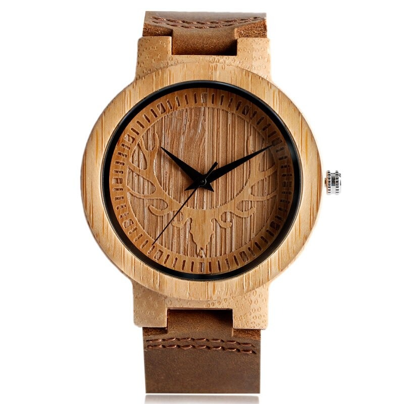 Watch is made of natural wood with elk