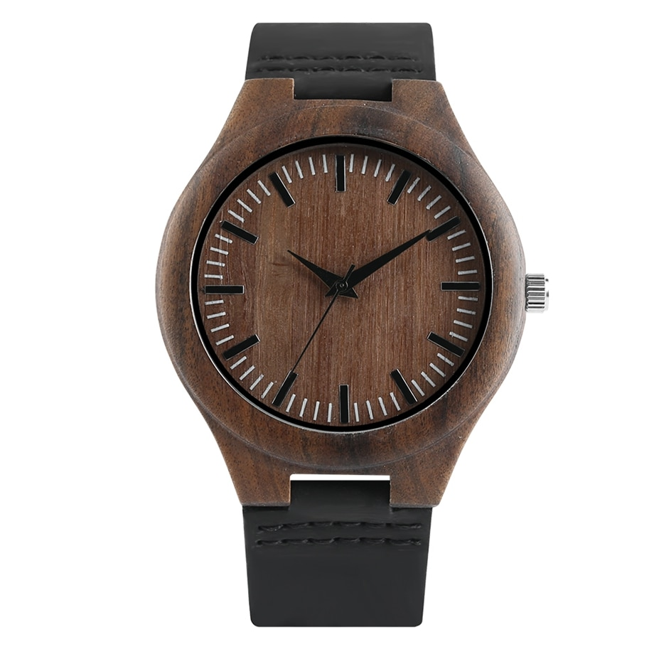 Atypical wooden watch is made of bamboo