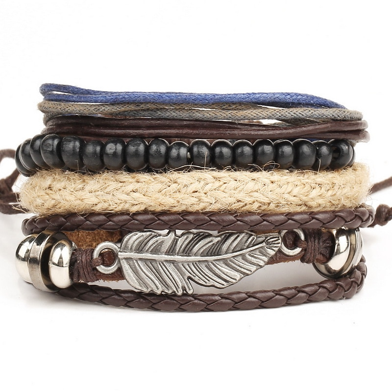 1 set 4 pcs. leather men\'s bracelet