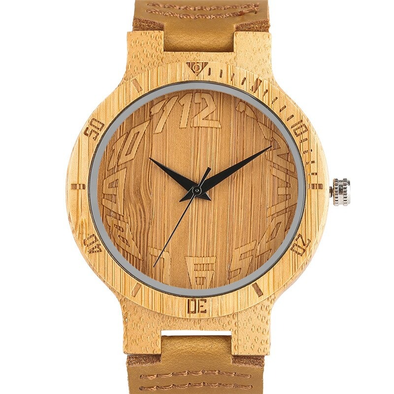 Unique wooden watch with large numbers