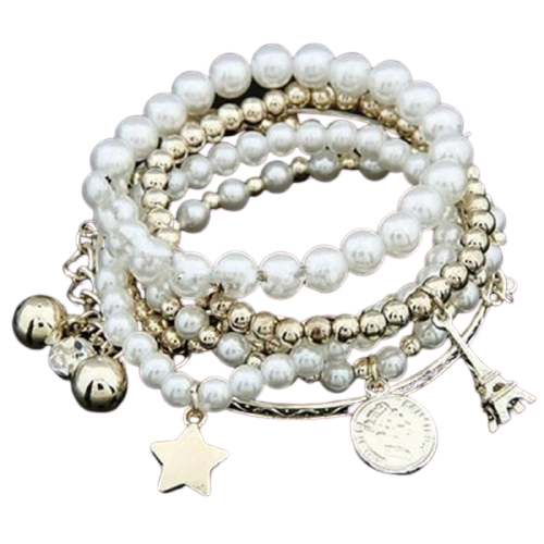 6 pieces/unit Metal bracelet chain woman multilayer simulated pearl