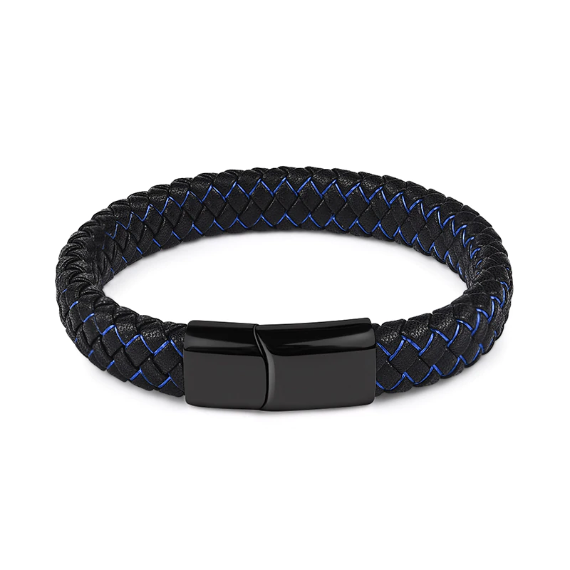 Black Blue Braided Leather Men\'s Bracelet