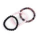 3-pi-ces-ensemble-8mm-noir-Onyx-Rhodonite-Rose-Quartzs-perl-poignet-hommes-femmes-bracelet-en