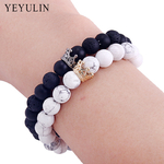 la-mode-Noir-Blanc-Perles-de-Pierre-avec-Or-Argent-Couleur-Alliage-Couronne-Bracelet-Pour