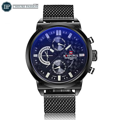 Reloj de cuarzo de 24 horas de malla de acero negro para hombres