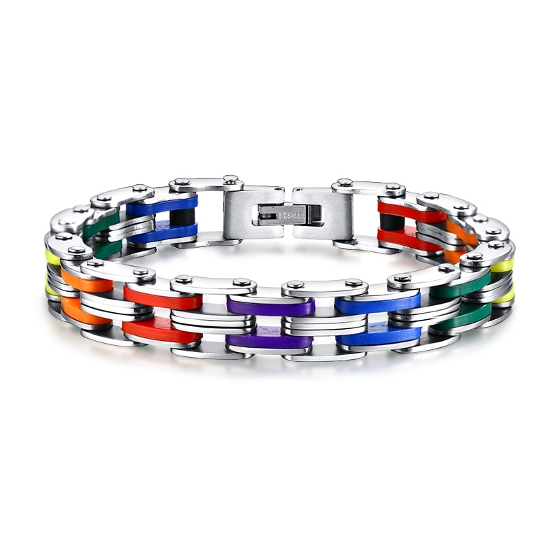 Brazalete de acero inoxidable arco iris color 316L