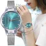 Luxe-femmes-vert-cadran-Bracelet-Quartz-horloge-mode-m-tal-argent-ceinture-mode-cr-ative-robe