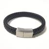 Mode-bijoux-pour-homme-Tress-En-Cuir-Bracelet-Fait-Main-Bracelet-acier-inoxydable-noir-fermoirs-magn
