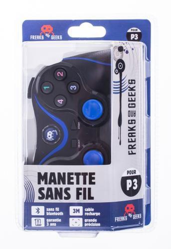 Manette sans Fil Noir et Bleu PS3 + Câble de recharge