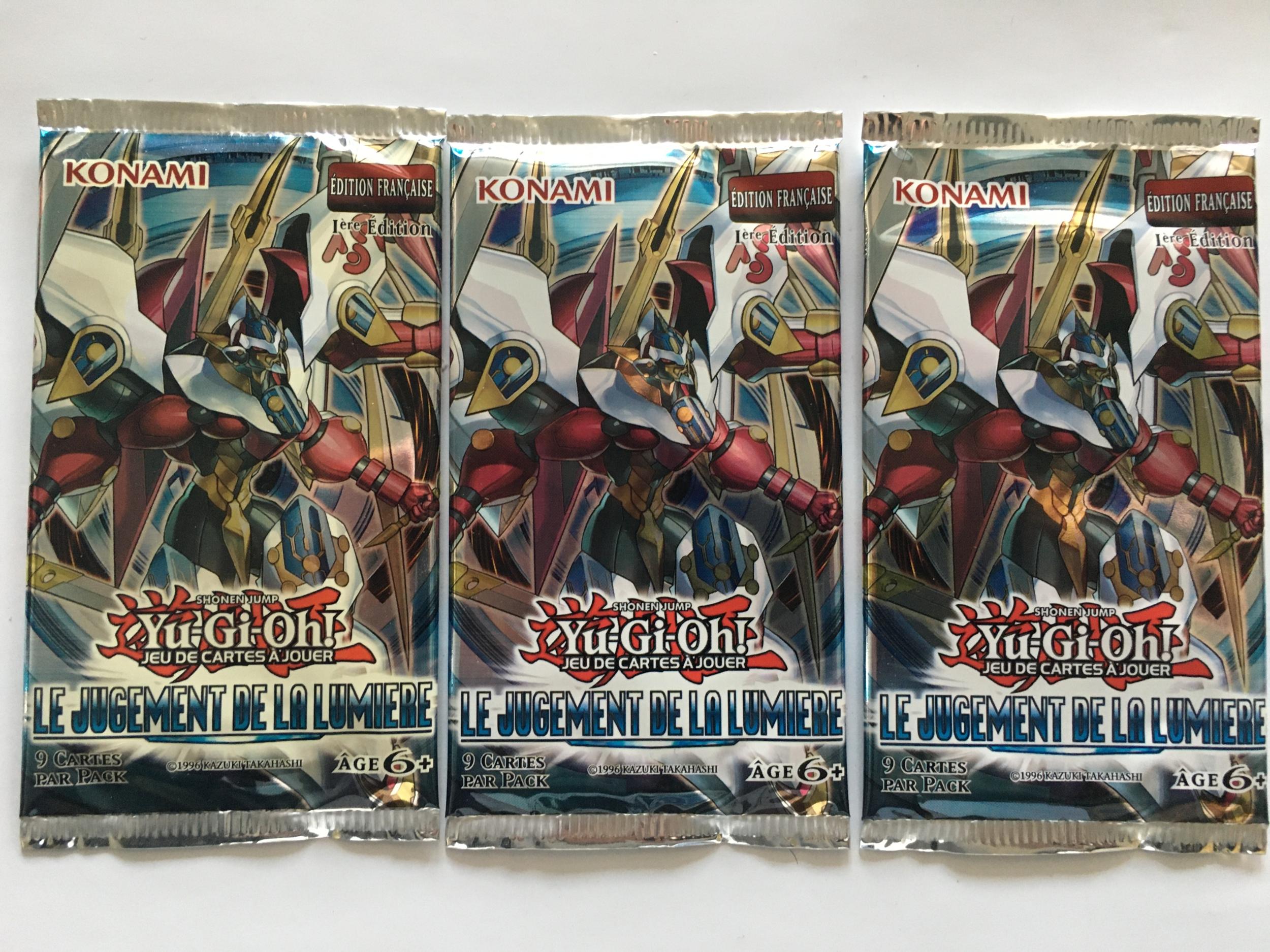Trois Boosters Le Jugement de la Lumière Yu-Gi-Oh ! (1ère Edition !)