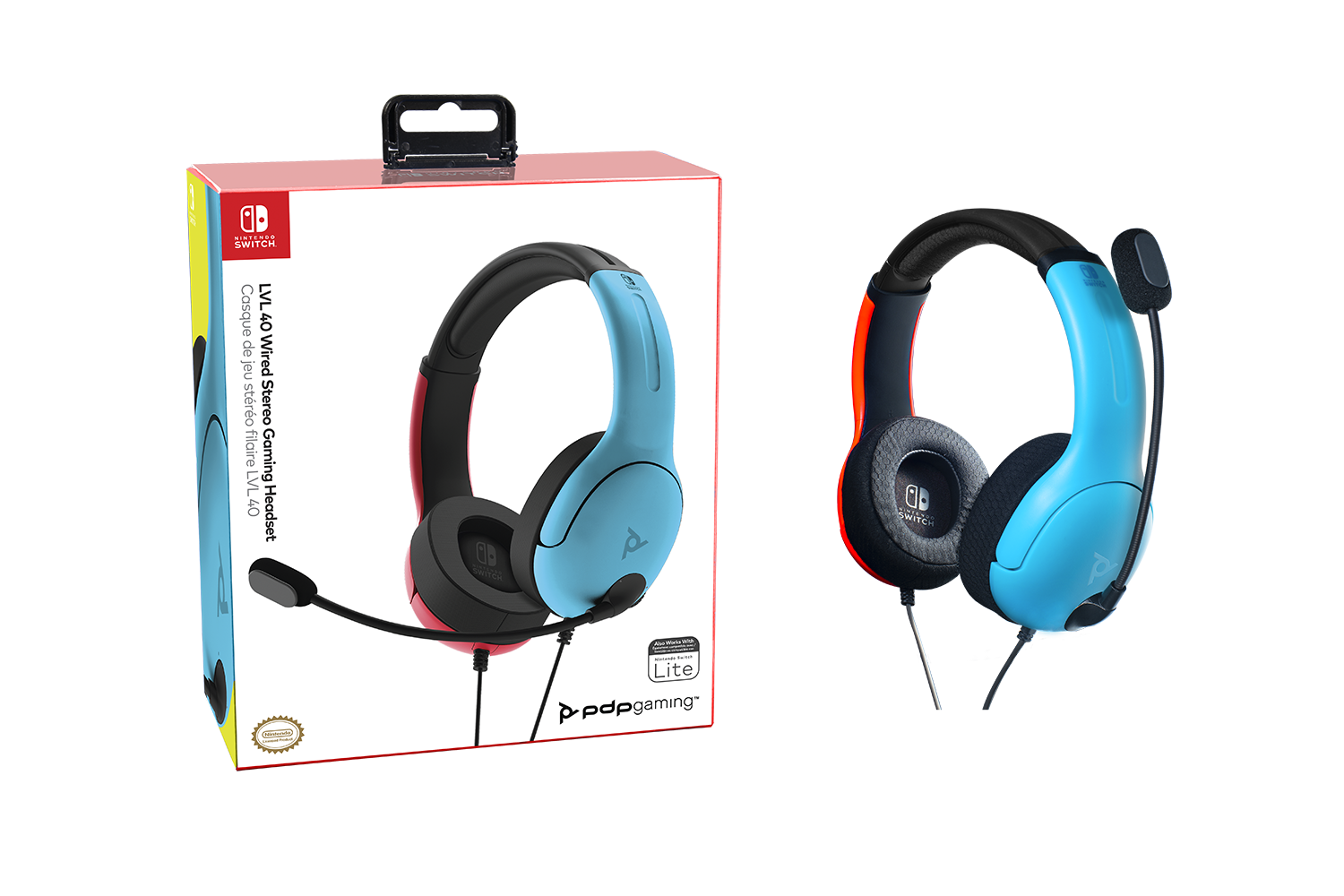 Casque gamer LVL40 Bleu/Rouge - Nintendo Switch