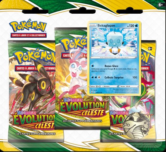 pack 3 boosters pokemon épée et bouclier evolution celeste