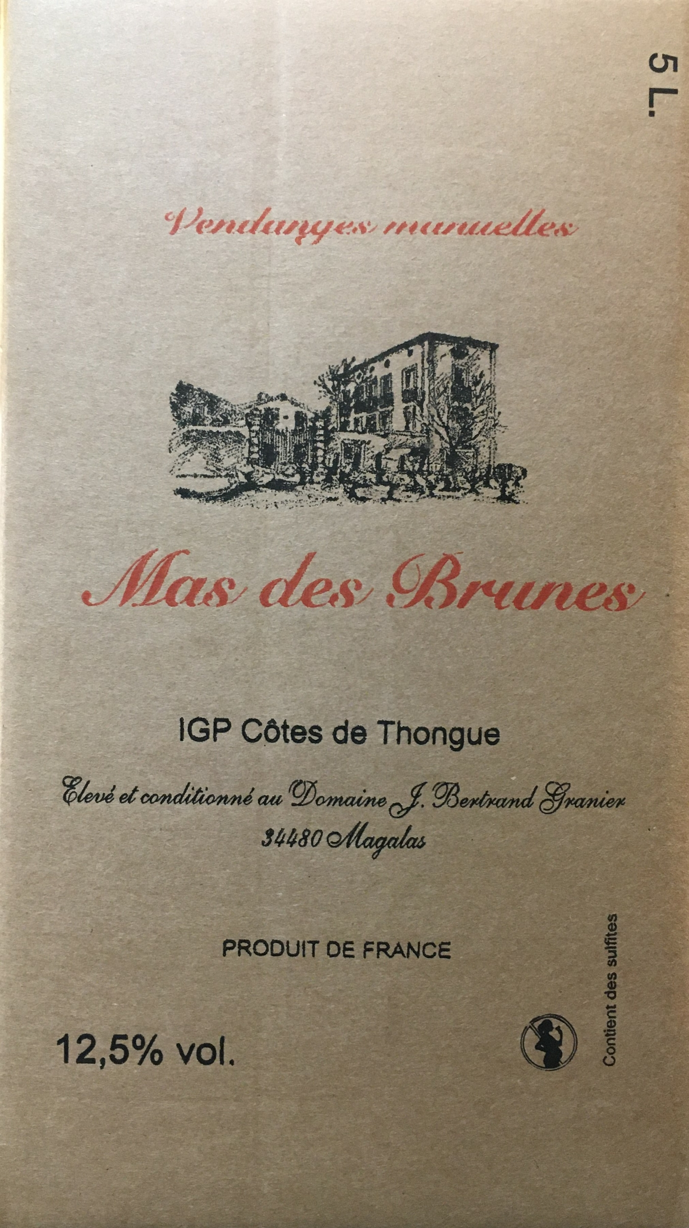 BIB IGP Côtes de Thongue Rouge 5L