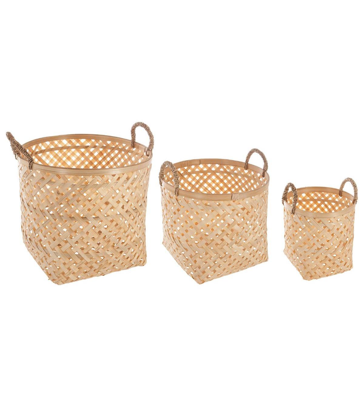 Atmosphera Lot de 3 Paniers avec couvercles en Bambou Blanchi