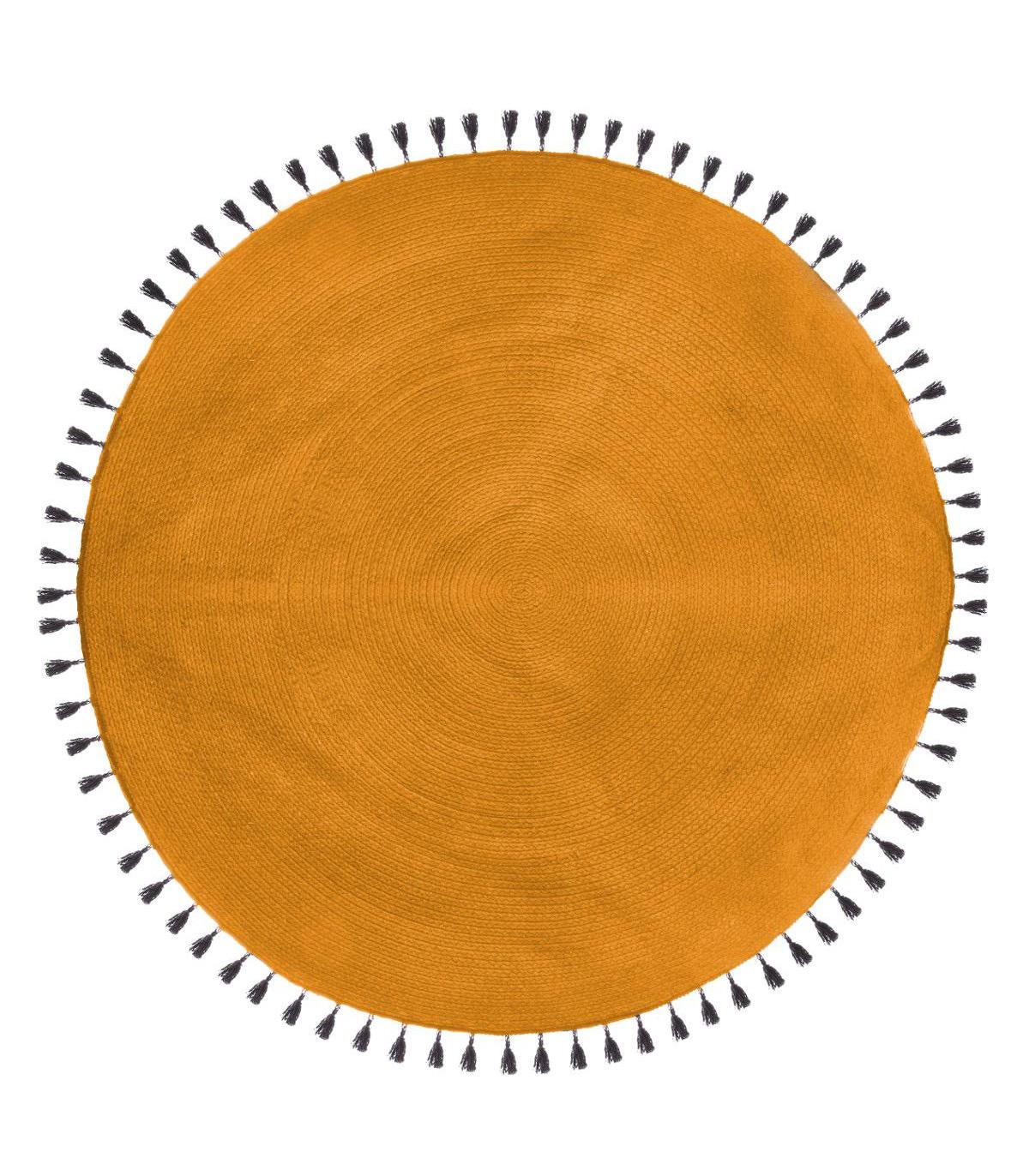 Tapis rond en coton JUNGLE POP OCRE D120
